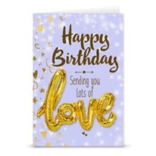 'Love' ballon+kaart 'Happy Birthday'