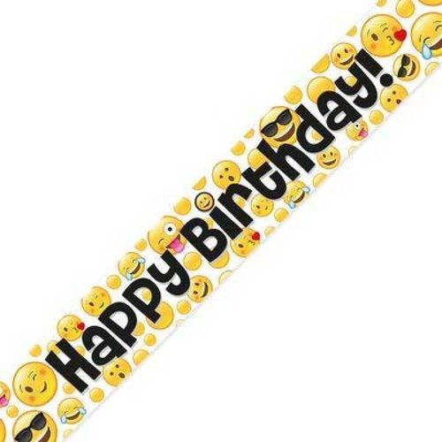 Banner 'Happy Birthday' holographic emotico