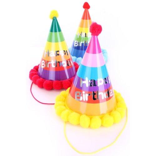 Feesthoedje multicolor/pompons 'Happy Birthday', per 3st