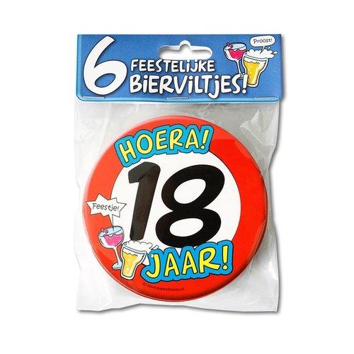 Bierviltjes 'Hoera 18 jaar', per 6st