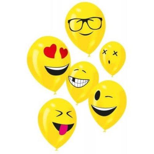 Ballonnen 'Imoji' geel, 24cm per 6st ass