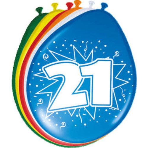 Ballons '21 jaar', 8st  30cm