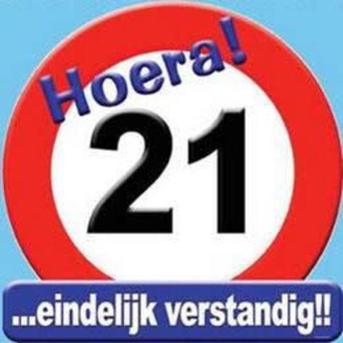 Deco verkeersbord 21 jaar