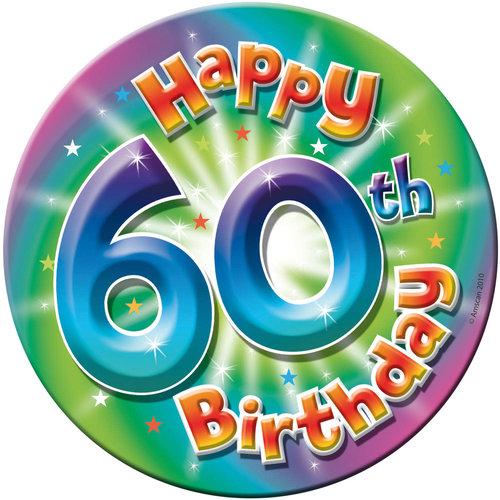 Button '60th Birthday' Large 16cm