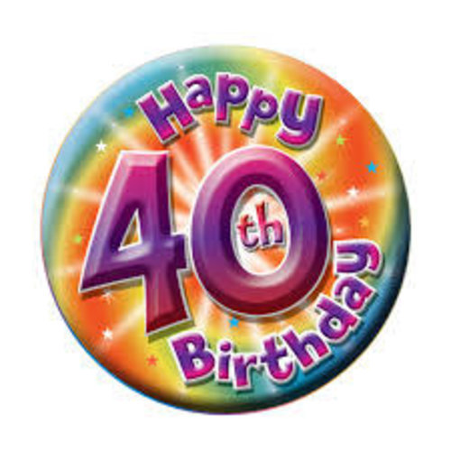 Button '40th Birthday' large 16cm
