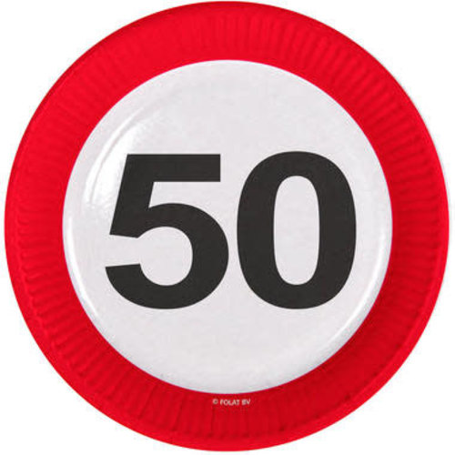 Bord karton 'Verkeersbord 50', per 8st