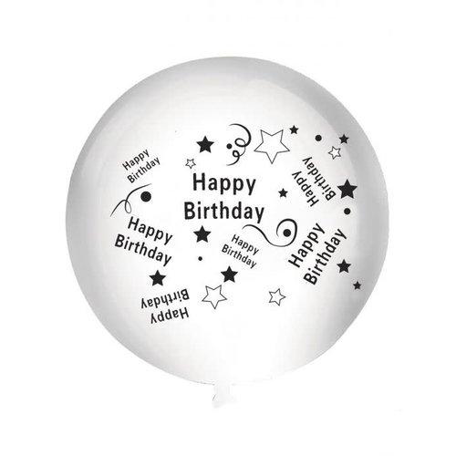 Ballon 'Happy Birthday' wit, 92cm