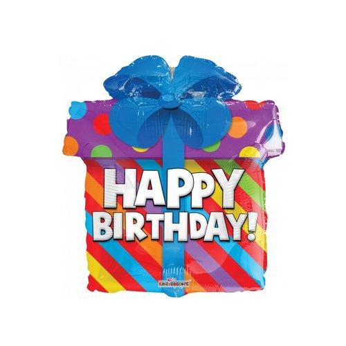 Folie ballon Happy Birthday cadeau metallic glitter 45cm