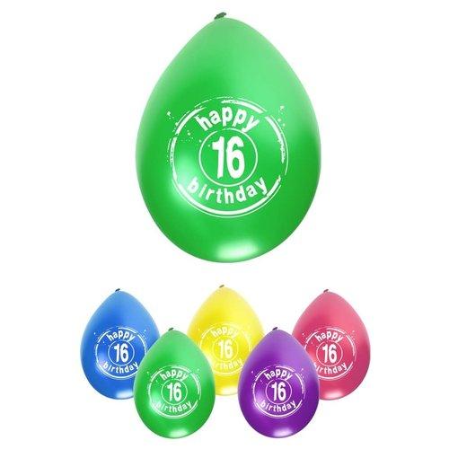 Ballon Happy Birthday 16 jaar ass kleuren 8st
