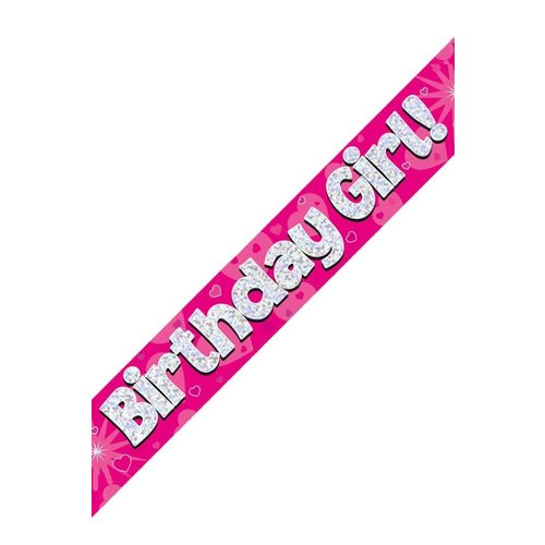 Banner Birthday Girl  holografisch roze 2.7mtr