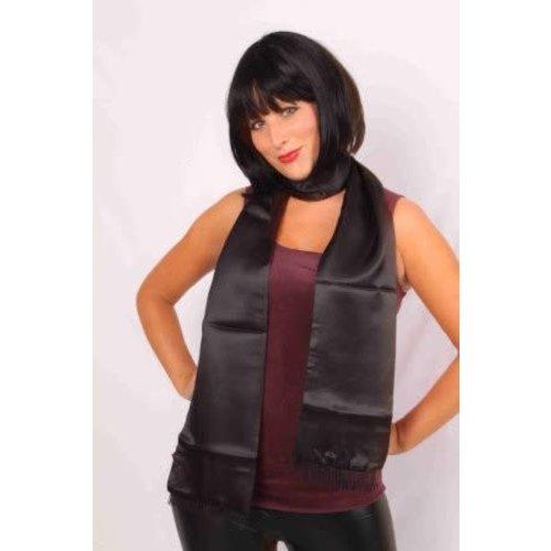 PartyXplosion Sjaal zwart satijn, 180cm