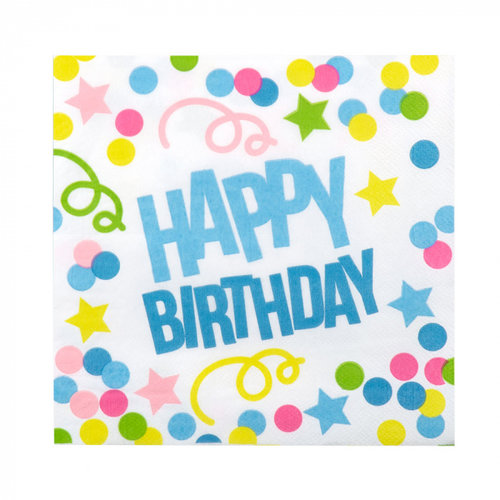 Boland Set 12 Servetten 'Happy Birthday' (33 x 33 cm)