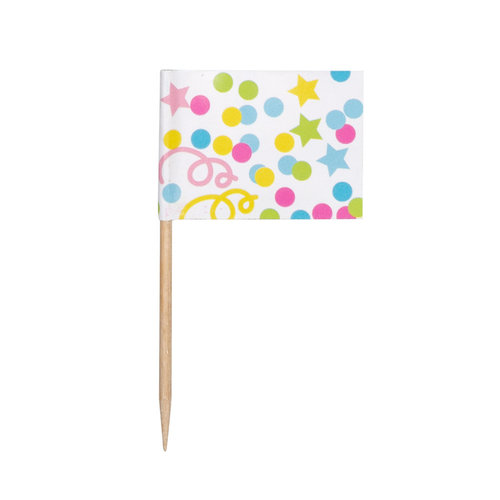 Boland Set 24 Vlaggenprikkers Confetti (7 cm)