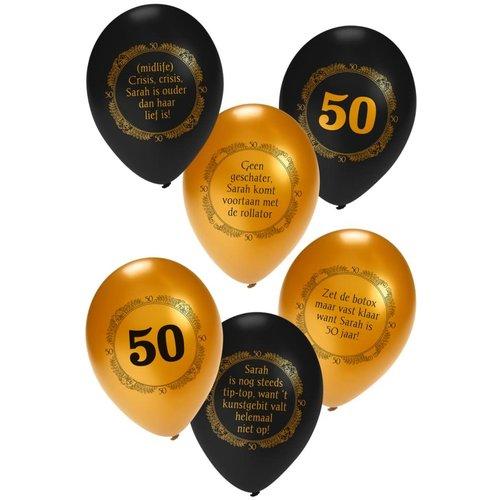 Ballon helium 'Sarah' metallic goud/zwart, 14inch per 6ass