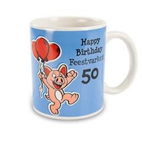 Dieren mok '50 Happy Birthday Feestvarken!'