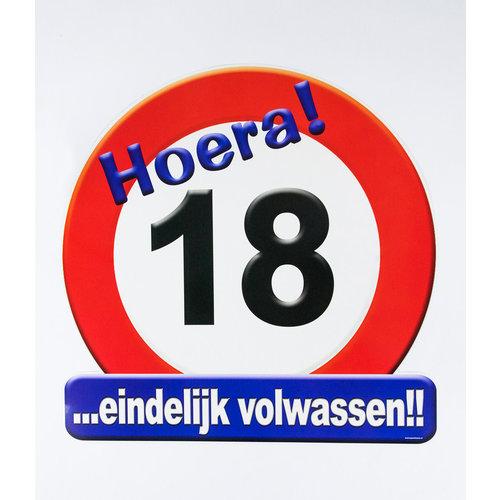 Deco verkeersbord 18 jaar