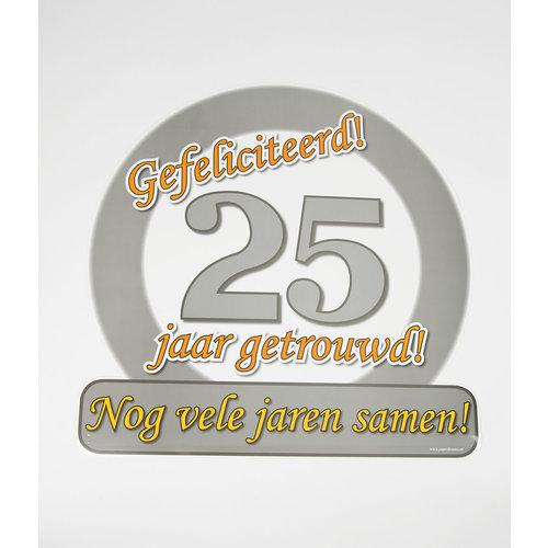 Deco verkeersbord 25 jaar getrouwd