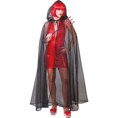 Funny Fashion Cape doorzichtig zwart