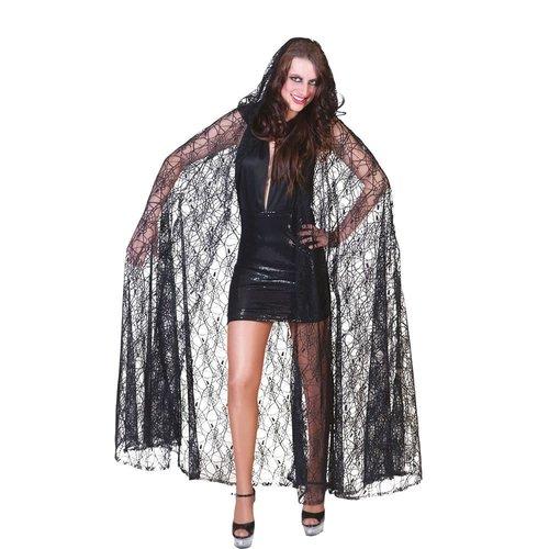 Funny Fashion Cape Spiderweb zwart