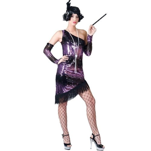 Funny Fashion Charleston dame paars Jazzy Flapper