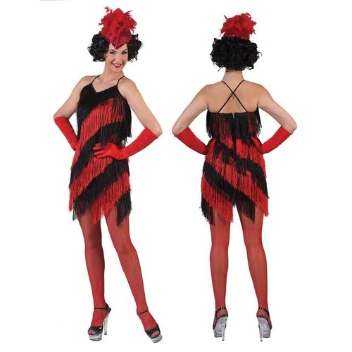 Funny Fashion Charleston dame rood/zwart