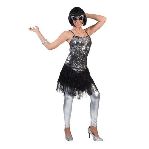 Funny Fashion Charleston dame Fringie Flapper zilver