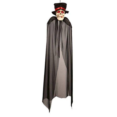 Deco 'Skull+sigaar' met cape en licht, 150cm