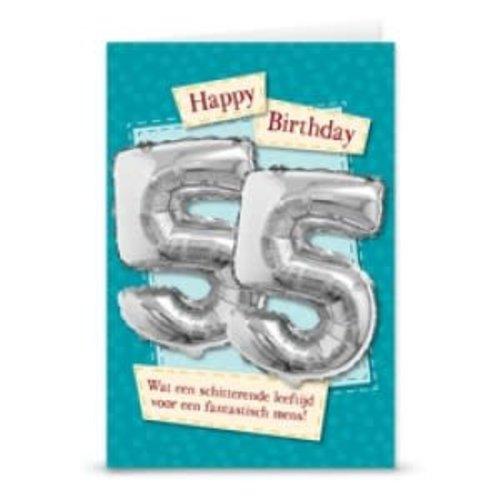Verjaardagskaart + ballon '55 jaar'