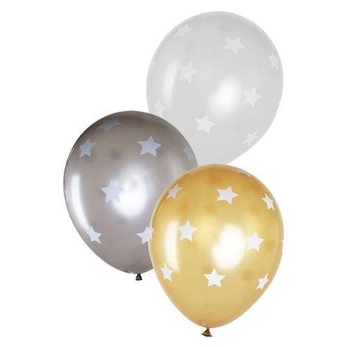 Ballon met sterren metallic goud/zilver/wit, 14inch per 6st