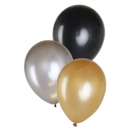 Ballon metallic goud/zilver/zwart, 14inch per 6st