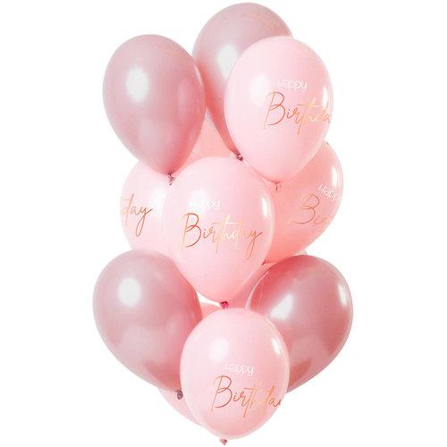 Ballonnen Happy Birthday Elegant Lush Blush per 12st/30cm
