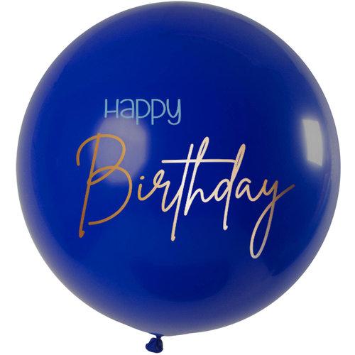 Ballon Elegant True Blue Happy Birthday, 31inch/80cm
