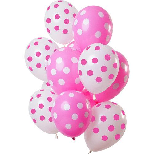 Ballonnen Polka Dots roze/wit, 12inch/30cm, per 15st