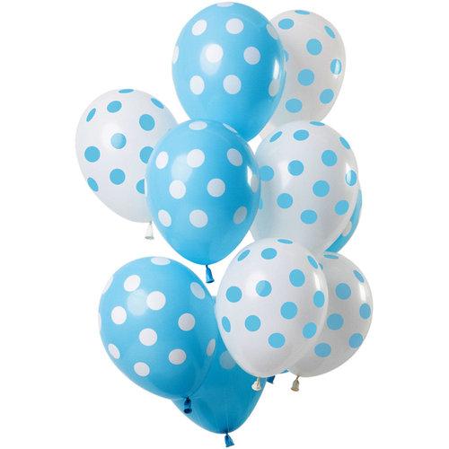 Ballonnen Polka Dots blauw/wit, 12inch/30cm, per 15st
