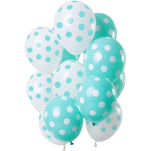 Ballonnen Polka Dots mint/wit, 12inch/30cm, per 15st