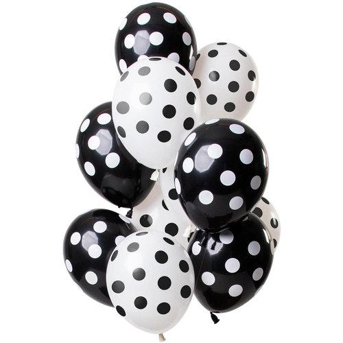 Ballonnen Polka Dots zwart/wit, 12inch/30cm, per 15st