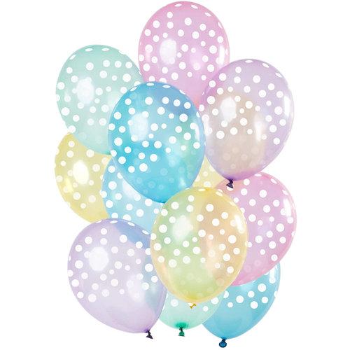 Ballonnen gekleurd/kleine witte stippen, 12inch/30cm, per 15st