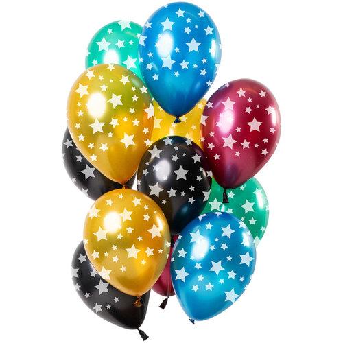 Ballonnen Sterren Metallic, 12inch/30cm, per 12st