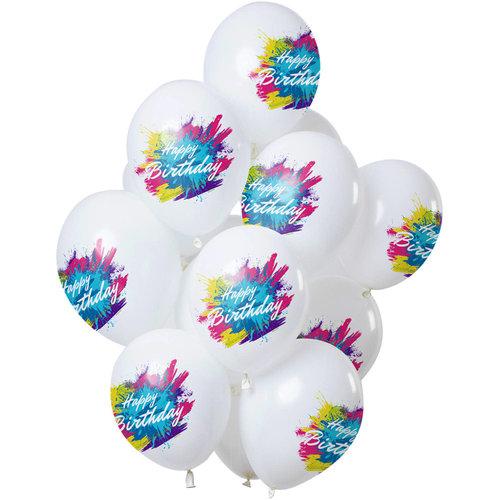 Ballonnen Color Splash Happy Birthday, 12inch/30cm per 12st