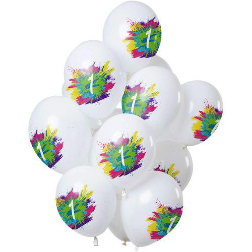 Ballonnen Color Splash 1 jaar, 12inch/30cm per 12st