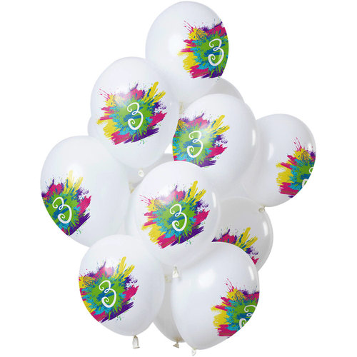 Ballonnen Color Splash 3 jaar, 12inch/30cm per 12st