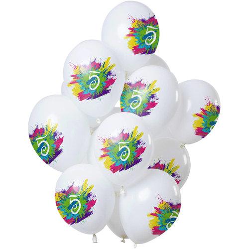 Ballonnen Color Splash 5 jaar, 12inch/30cm per 12st