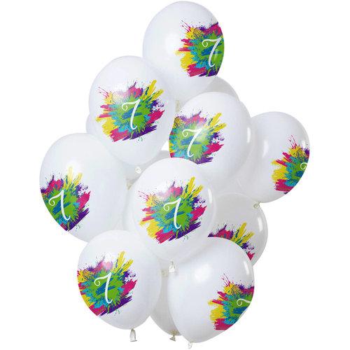 Ballonnen Color Splash 7 jaar, 12inch/30cm per 12st
