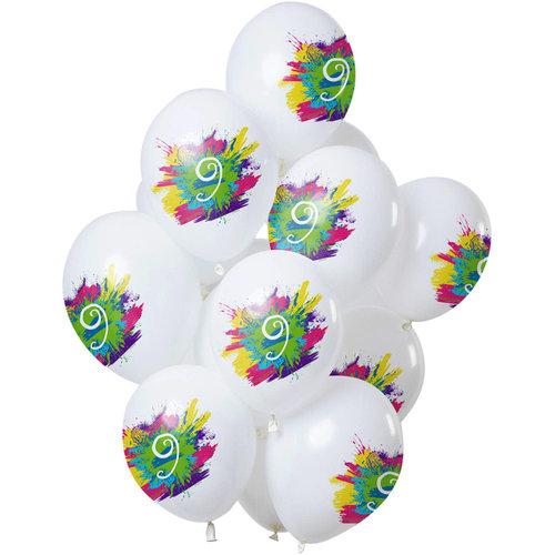 Ballonnen Color Splash 9 jaar, 12inch/30cm per 12st