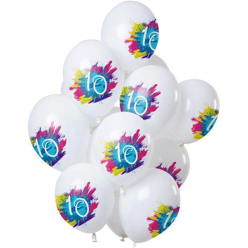Ballonnen Color Splash 10 jaar, 12inch/30cm per 12st