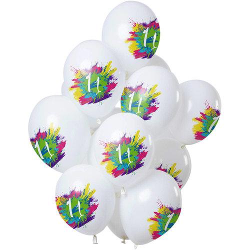 Ballonnen Color Splash 11 jaar, 12inch/30cm per 12st