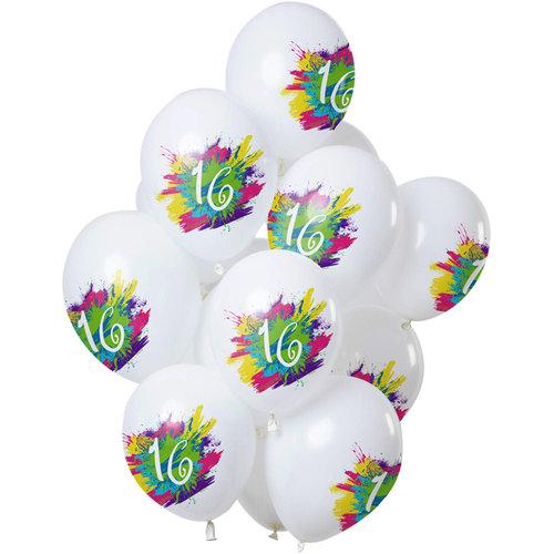 Ballonnen Color Splash 16 jaar, 12inch/30cm per 12st