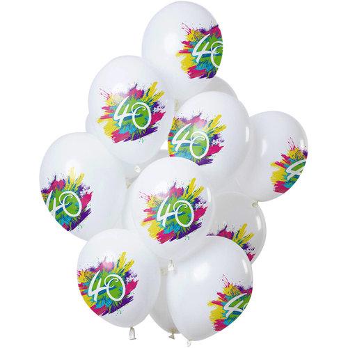 Ballonnen Color Splash 40 jaar, 12inch/30cm per 12st