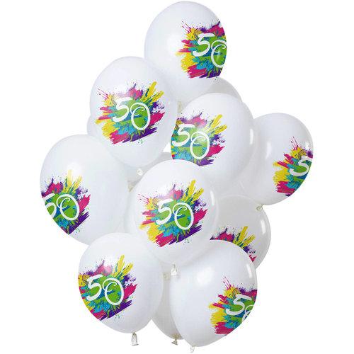 Ballonnen Color Splash 50 jaar, 12inch/30cm per 12st
