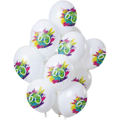 Ballonnen Color Splash 60 jaar, 12inch/30cm per 12st